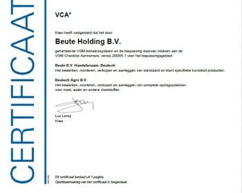 VCA-certificaat voor Beutech
